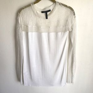 BCBGMAXZARIA White Top Size XXS Lace Back Inserts